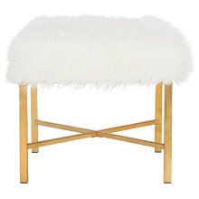 Horace Faux Sheepskin X- Square Bench - White
