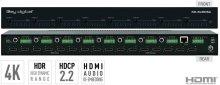 8x8 4K HDMI Matrix Switcher, Audio De-embedding of Analog L/R Balanced/ Unbalanced & Digital Coaxial Audio, HDR, HDCP2.2