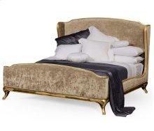 Cali King Louis XV Gilded Bed, Upholstered in Calico Velvet