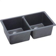 "Elkay Quartz Classic 33"" x 18-1/2"" x 9-1/2"", Equal Double Bowl Undermount Sink, Dusk Gray"