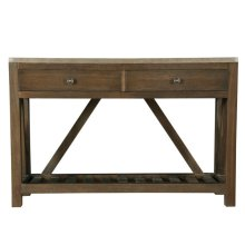 Farmhouse Style Medium Brown Oak and Metal Wrapped Two Drawer Accent Console Table