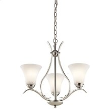 Keiran 3 Light Chandelier with LED Bulbs Brushed Nickel