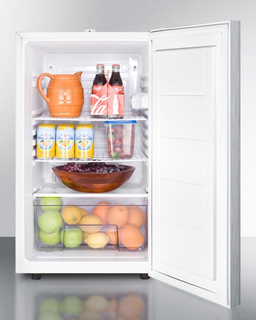 """Commercially Listed ADA Compliant 20"""" Wide Counter Height All-refrigerator, Auto Defrost With A Lock, Stainless Steel Door, Horizontal Handle, and White Cabinet"""