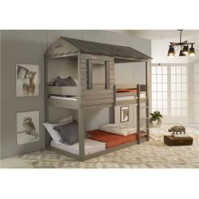 Pine Ridge Brown House Bed with options: Twin over Twin