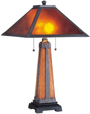 Table Lamp, Dark Bronze/ Walnut/ Mica Shade, Type Cfl 13wx2