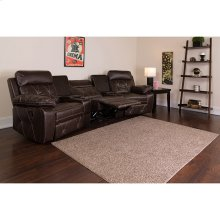 Reel Comfort Series 3-Seat Reclining Brown Leather Theater Seating Unit with Curved Cup Holders