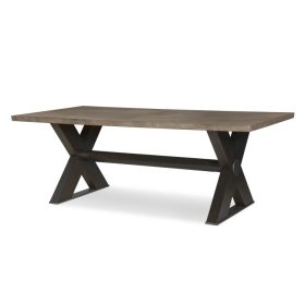 "Casa Bella ""x"" Base Small Dining Table Combo Finish: Timber Gray/charbrown"
