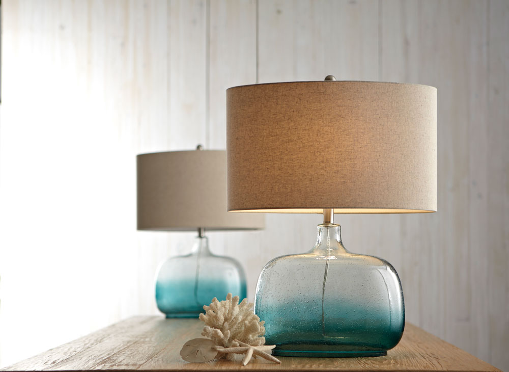 Clear U0026 Turquoise Ombre Wide Base Table Lamp. 100W Max. 3 Way Switch.