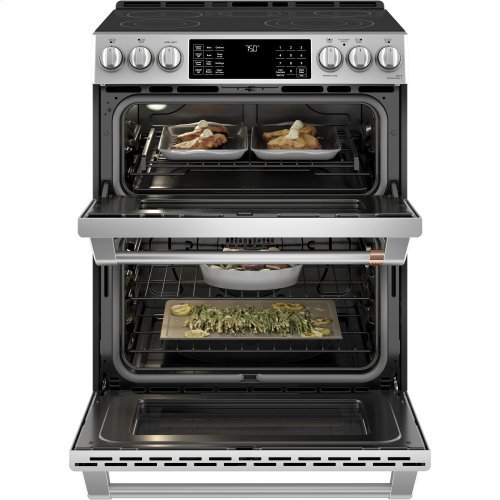 """Café 30"""" Slide-In Front Control Radiant and Convection Double Oven Range"""