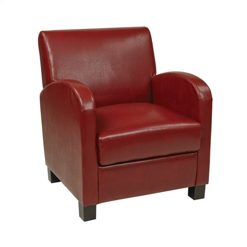 Club Chair In Crimson Red Bonded Leather With Espresso Legs