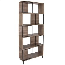 """Paterson Collection 5 Shelf 29.75""""W x 72.25""""H Bookcase and Storage Cube in Rustic Wood Grain Finish"""