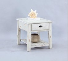 Rectangular End Table - Distressed White Finish