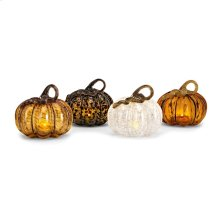 Medium Glass LED Pumpkin - Ast 4