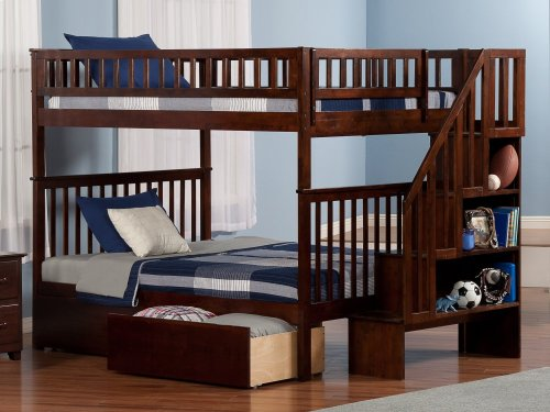 Woodland Staircase Bunk Bed Full over Full with Urban Bed Drawers in Walnut