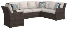 """""""Resin Wicker Beige and Blue"""" 3 Piece (Sofa/Sectional/Chair with Cushions and Pillows)"""