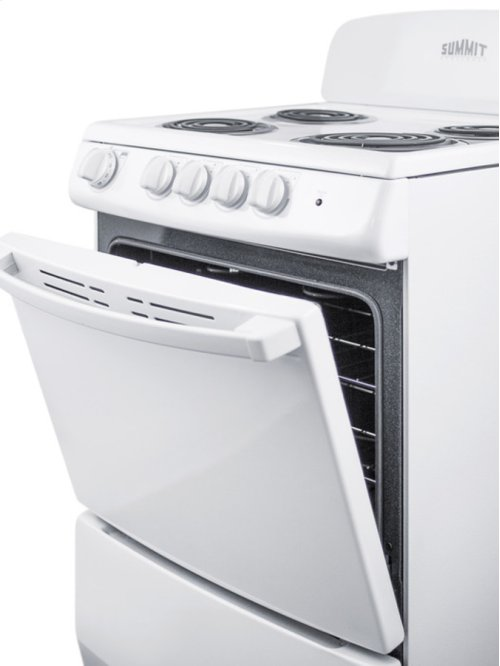 """20"""" Wide Electric Range In White Finish With Coil Burners"""