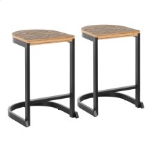 Industrial Demi Counter Stool - Set Of 2 - Black Metal, Bamboo