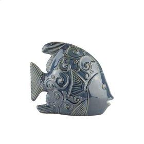 """Ceramic Fish DECOR,12.25"""" Navy"""