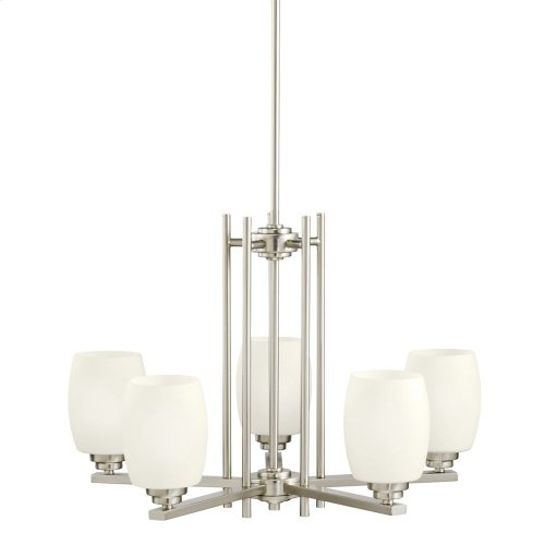 Eileen 5 Light Chandelier with LED Bulbs Brushed Nickel