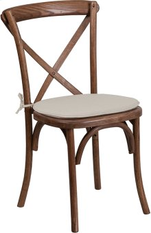 Stackable Pecan Wood Cross Back Chair with Cushion