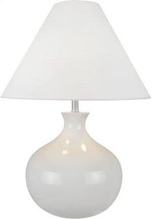 Table Lamp, White Ceramic Body/white Fabric, E27 Cfl 23wx2