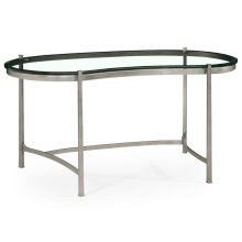 Silver Kidney Desk with Glass Top