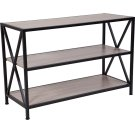 "Chelsea Collection 3 Shelf 26""H Cross Brace Bookcase in Sonoma Oak Wood Grain Finish Product Image"