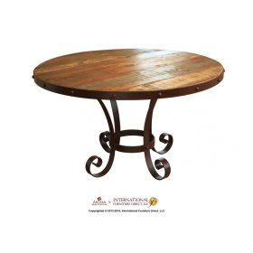 """51"""" Round Dining Table Top w/Iron Nail and Head Trim"""