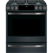 GE Profile Slide-In Front Control Premium Slate Appearance, 5.6 cu. Ft. Self-Cleaning Convection Gas Range