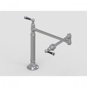"Brushed Stainless - 19 3/8"" Deck Mount Pot Filler with Black Ceramic Lever Product Image"