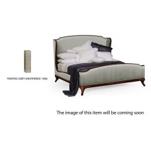 US Queen Louis XV Grey Weathered Bed, Upholstered in Dove Silk
