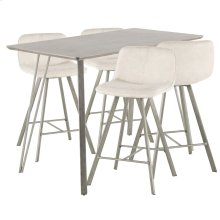 Sedona 5-piece Counter Set - Brushed Antique Metal, Dark Brown Wood, Cream Fabric