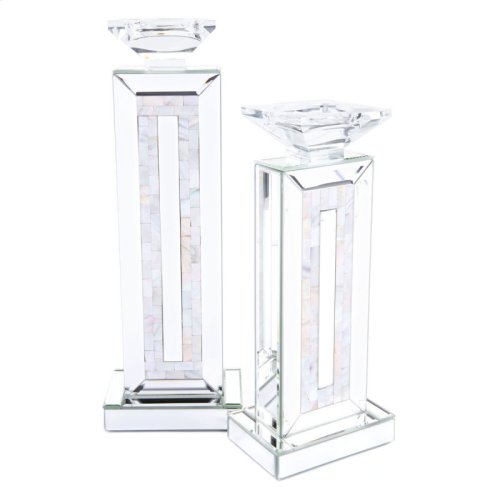 Mirrored Candle Holder Sm Mirror And Mop