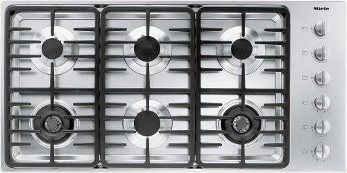 KM 3485 LP Gas cooktop with 2 dual wok burners for particularly versatile cooking convenience.