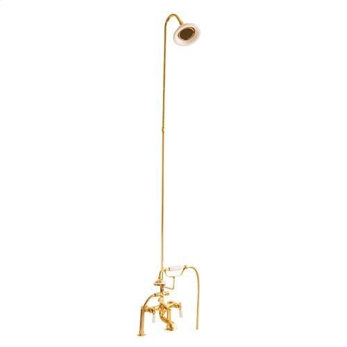 Tub/Shower Converto Unit - Elephant Spout, Riser, Showerhead - Lever / Polished Brass