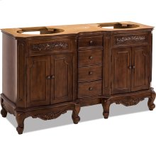 "60"" double vanity base with Nutmeg finish, carved floral onlays, and French scrolled legs."