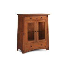 McCoy 2-Door Dining Cabinet, 2 Doors with Beveled Glass Doors and Ends