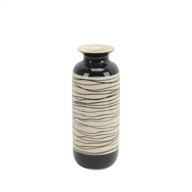 "Ceramic Vase 14.5"", Black/white"
