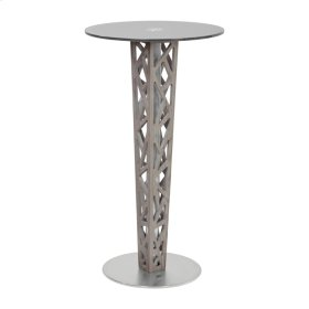 Armen Living Crystal Pub Table with Gray Walnut Veneer column and Brushed Stainless Steel finish with Gray Tempered Glass Top