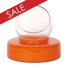 Orange Opaque Glass Round Base with Clear Hand Blown Glass Vase - Large