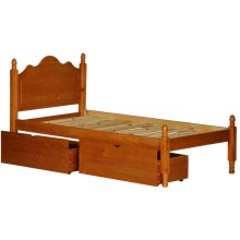 Reston Honey Pine Twin Panel Bed w/ 2 Storage Drawers