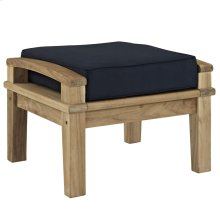 Marina Outdoor Patio Teak Ottoman in Natual Navy