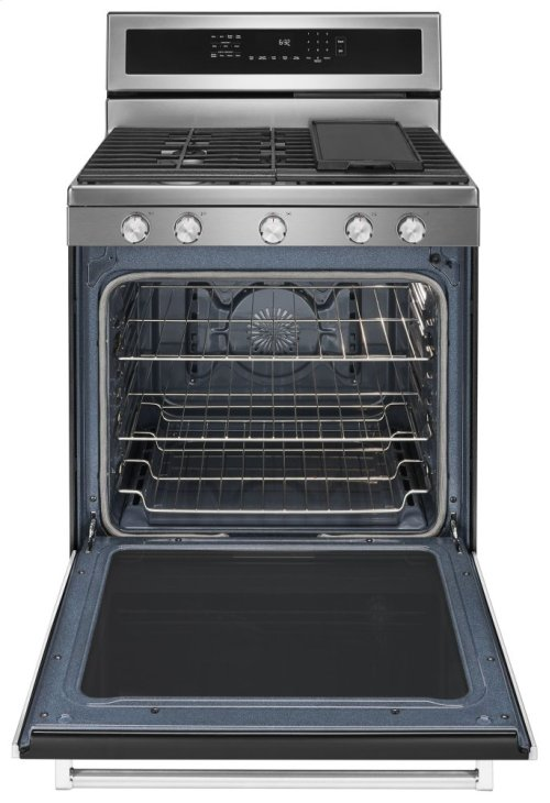 30-Inch 5-Burner Gas Convection Range - Stainless Steel