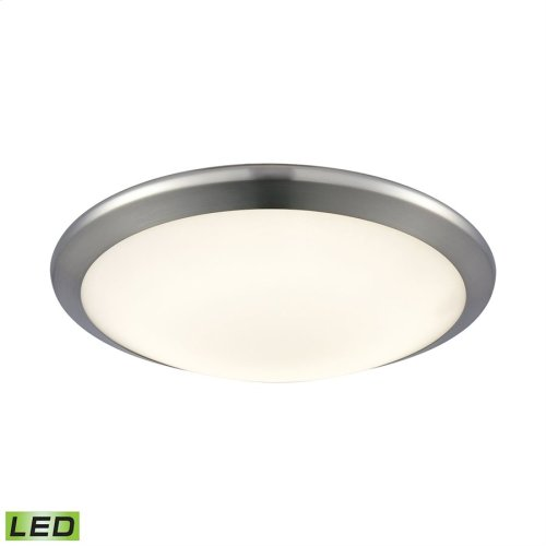 Clancy 1-Light Round Flush Mount in Chrome with Opal Glass - Integrated LED - Small