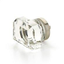 "City Lights, Rectangular Glass Knob, Satin Nickel, 1-3/4"" dia"