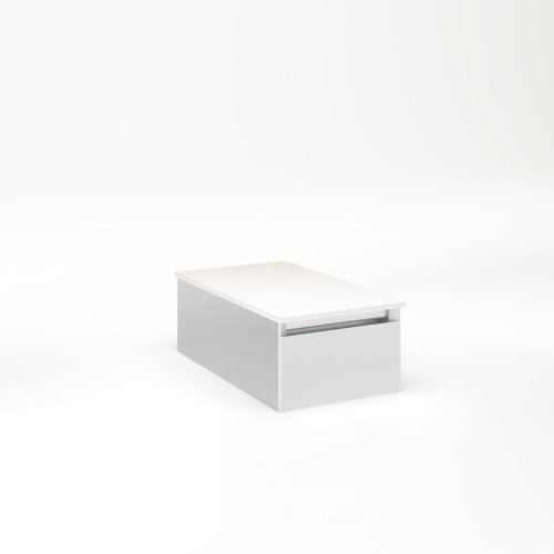 """Cartesian 12-1/8"""" X 7-1/2"""" X 21-3/4"""" Slim Drawer Vanity In Satin White With Slow-close Full Drawer and Night Light In 5000k Temperature (cool Light)"""