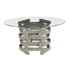 """Complete Dining Table-round 60"""" Glass Top W/wood Base-driftwood Finish"""