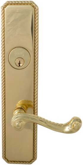 Exterior Traditional Mortise Entrance Lever Lockset with Plates in (US3 Polished Brass, Lacquered)
