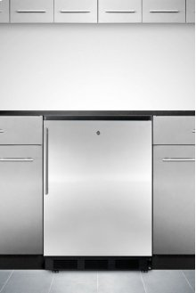 Commercially Approved Solid Door Wine Cellar for Built-in Use, With Front Lock, Stainless Steel Door, Thin Handle and Black Cabinet