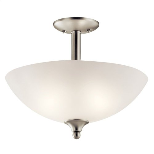 Jolie 2 Light Convertible Pendant with LED Bulbs Brushed Nickel